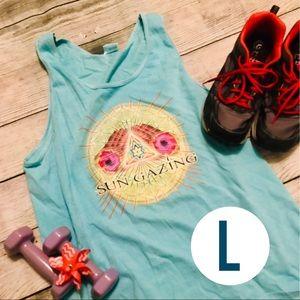 Tops - hippy Teal Workout Sun Gazing Cotton Top Large